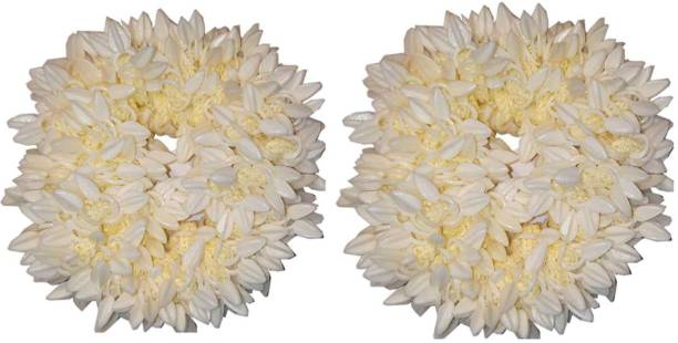 BELLA HARARO Gajra Mogra And Rubber band Gajra Hair Accessories Hair Gajra White Pack of 2 Rubber Band