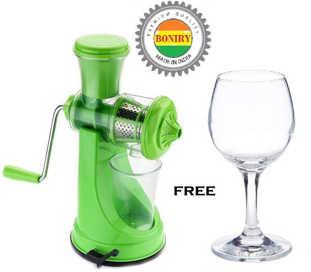 BONIRY Plastic Hand Juicer Plastic Hand Juicer Hand Juicer Machine | Manual Juicer for Fruits and Vegetables | ABS PLASTIC MATERIAL Juicer with Steel Handle and Waste Collector