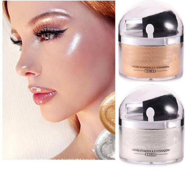 ADJD Silver Shimmery Shiny & Golden Shiny Face Makeup Shimmer Powdery Highlighter For Professional Look Best Combo of All Type Skin Highlighter