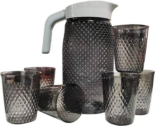 WiseWalker 2 L Water Unbreakable Premium Quality Plastic Water And Juice Jug With 6 Pcs Glasses For Water & Juice Serve Jug Black Color Jug