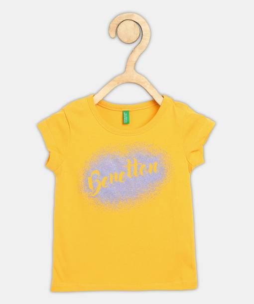 United Colors of Benetton Girls Printed Cotton Blend T Shirt