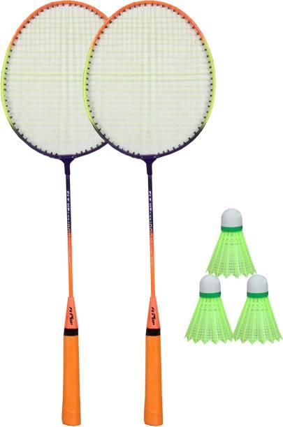 FLYUP White Body Set Of 2 Piece Badminton Racket With 3 Piece Nylon Shuttle Badminton Kit