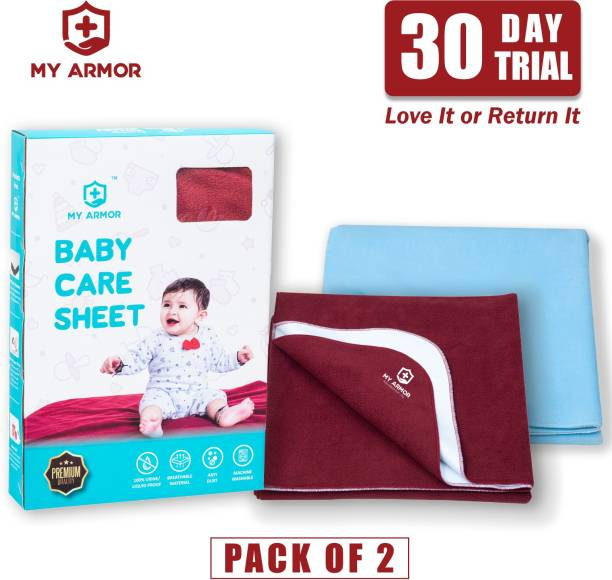 MY ARMOR Baby Dry Sheet/Mattress Protector Maroon & Sky Blue ( Pack of 2)