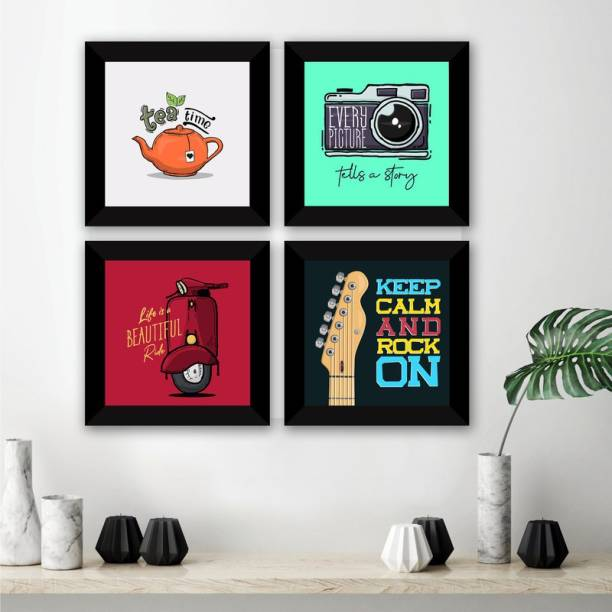 E Deals Set of 4 Framed Poster |Wall Painting For Home, Living Room ,Bedroom| Wall Decoratives. Digital Reprint 10 inch x 10 inch Painting