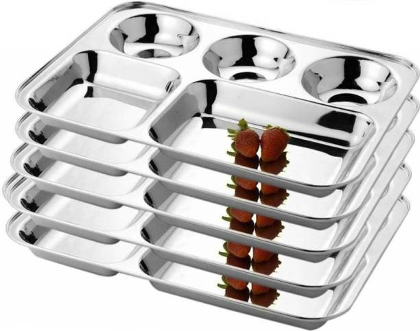 mannu LiiMETRO Stainless Steel Rectangular Bhojan / Lunch / Dinner Plate Dinner Plate (5 Dinner Plate) Sectioned Plate