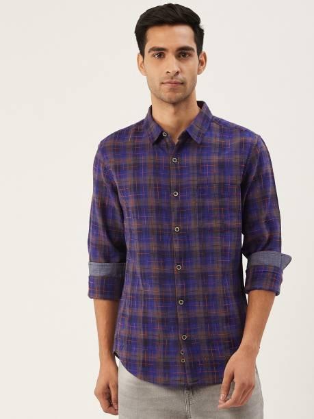United Colors of Benetton Men Checkered Casual Dark Blue, Grey Shirt