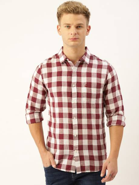 United Colors of Benetton Men Checkered Casual White Shirt