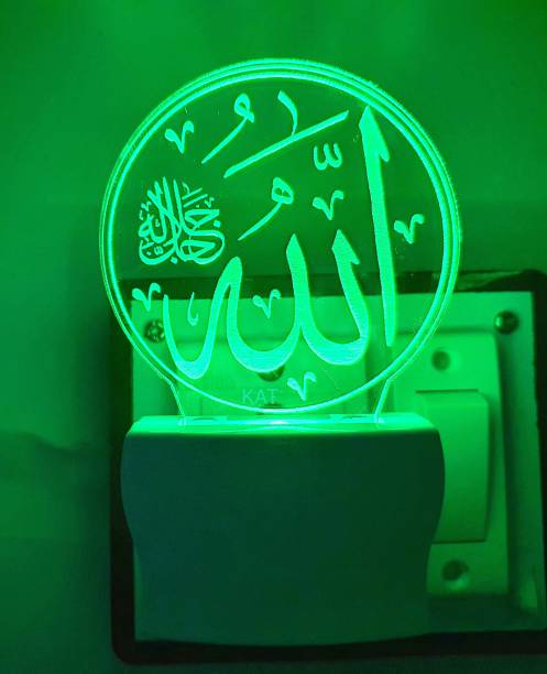 KAT Islamic Allah written 3D illusion light night light for 7 colour led changing lightings for bedroom decorative decoration lighting gift for love multi colour night lamp for home decor valentine Night Lamp