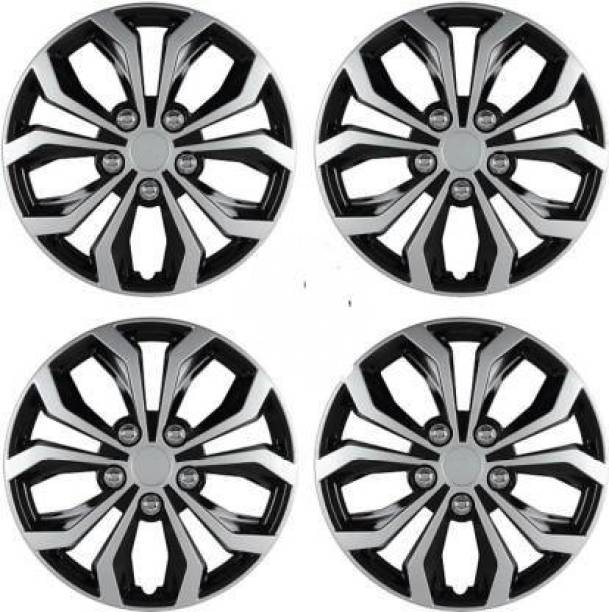 Ubom Dual Color Silver Black 14-inch Tyre Sport Rim cover, Wheel Cover with Rings, wheel cap 14-inch (Set of 4pc, Glossy Silver Black) Wheel Cover Wheel Cover For Maruti Ritz