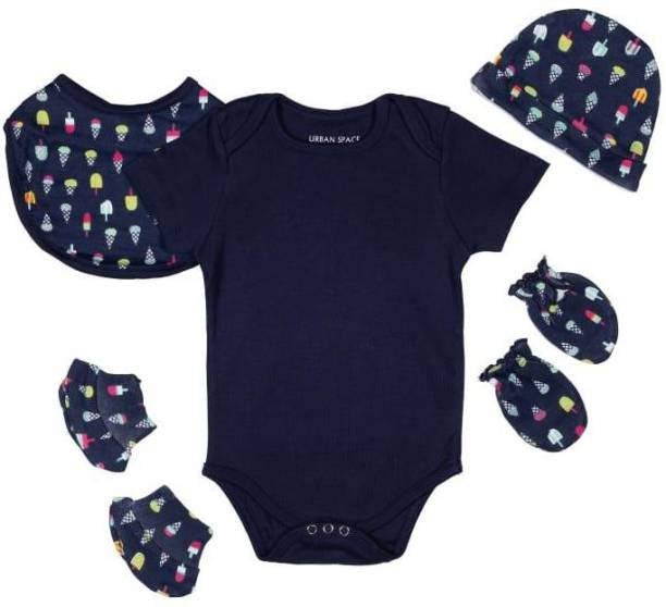Miss & Chief New Born Baby Clothing Gift Pack Combo .100% Cotton , 5 in 1 | (Unisex 0-6M)