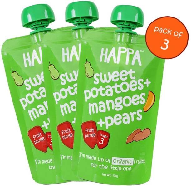 Happa Organic Sweet Potato Pear&Mangoes Fruit&Vegetable Puree Cereal