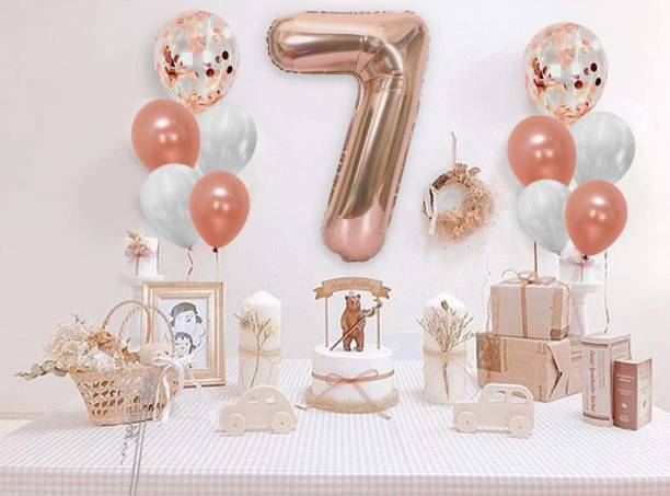 DECOR MY PARTY Solid 32 Inch 7 Number Rose Gold Foil Balloon Combo with Transparent Rosegold Confetti & Metallic Balloons Bouquet for 7th Birthday Girls Party Decorations / Wedding Anniversary Decoration Items / 7th Birthday Decorations Kit Letter Balloon