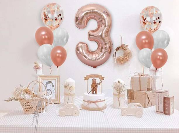 DECOR MY PARTY Solid 32 Inch 3 Number Rose Gold Foil Balloon Combo with Transparent Rosegold Confetti & Metallic Balloons Bouquet for 3rd Birthday Girl Party Decorations / Wedding Anniversary Decoration Items / 3rd Birthday Decorations Kit for Baby Girl Balloon Bouquet