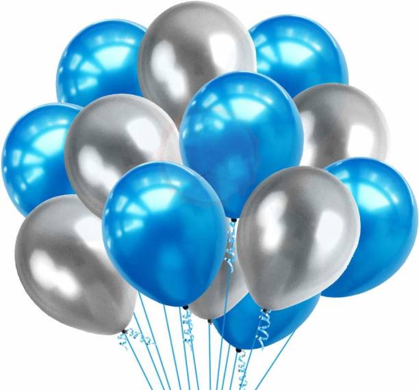 Party Propz Solid 100Pcs Blue and Silver Metallic Balloons For Birthday Decorations Items For Boys / Balloon Decoration Balloon