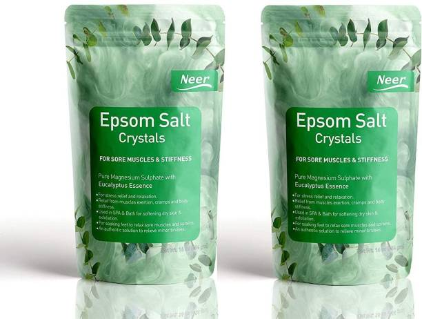 NEER Eucalyptus Epsom Salt (Magnesium Sulphate) For Softening Dry Skin ,Bathing, Relaxing Foot and Pain Relief Therapeutic Spa Treatment , Its use as an exfoliating scrub and a natural everyday remedy for soothing tired and aching muscles , use for Speed Up Plant Growth