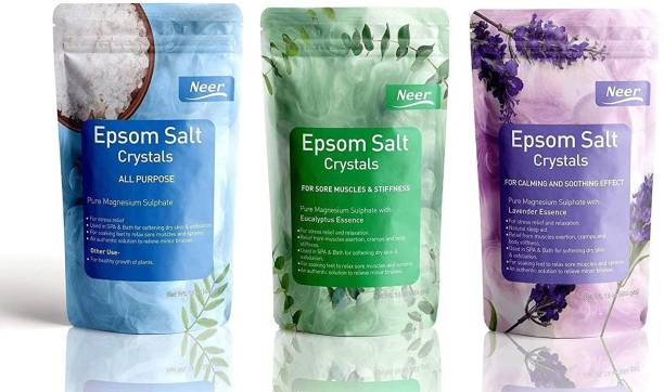 NEER All skin type Epsom Salt (Magnesium Sulphate) For Softening Dry Skin ,Bathing, Relaxing Foot and Pain Relief Therapeutic Spa Treatment , Its use as an exfoliating scrub and a natural everyday remedy for soothing tired and aching muscles , use for Speed Up Plant Growth