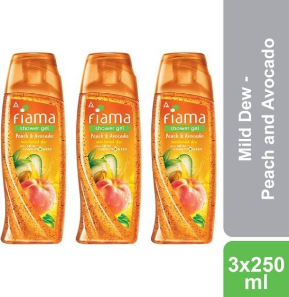 FIAMA Mild Dew Shower Gel - Peach and Avocado, Pack of 3