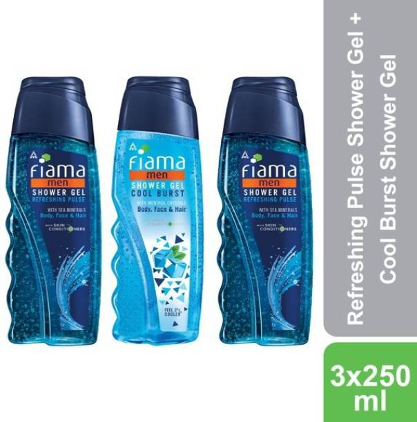 FIAMA Men Refreshing Pulse and Cool Burst Shower Gel, Pack of 3