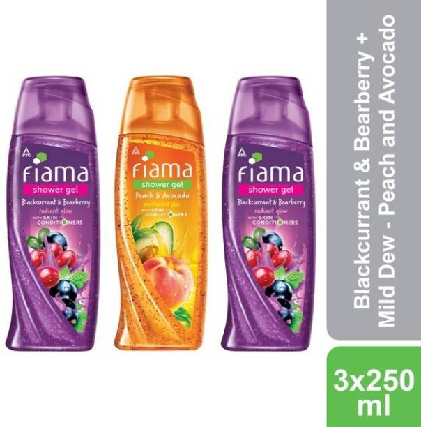 FIAMA Blackcurrant & Bearberry, Peach and Avacado Shower Gel, Pack of 3