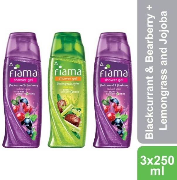 FIAMA Blackcurrant & Bearberry, Lemongrass and Jojoba Shower Gel, Pack of 3