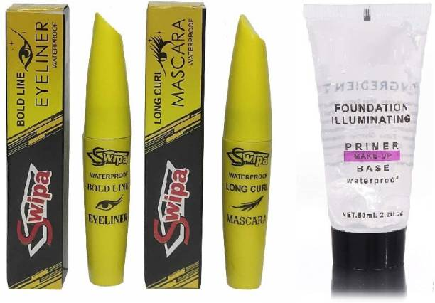 SWIPA Professional Combo Waterproof Eyeliner, Mascara with Primer-001