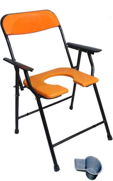 RADIANT TRADERS Foldable Commode & Showert Chairs With Pot (Orange) Commode Chair