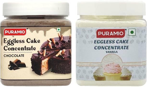 PURAMIO Eggless Cake Concentrate - Vanilla & Chocolate, 250g Each
