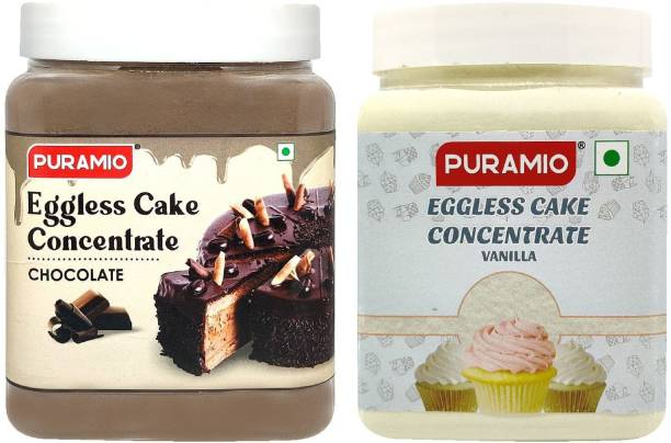 PURAMIO Eggless Cake Concentrate - Vanilla & Chocolate, 600g Each