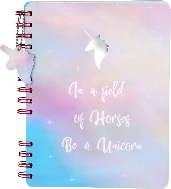 doodle Unicorn Notebook with Dangler Regular Diary Ruled 160 Pages