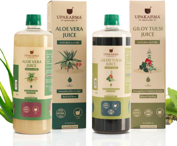 UPAKARMA Giloy Tulsi & Aloe Vera Juice a Natural All Round Tonic for Skin, Hair and Boost Immunity