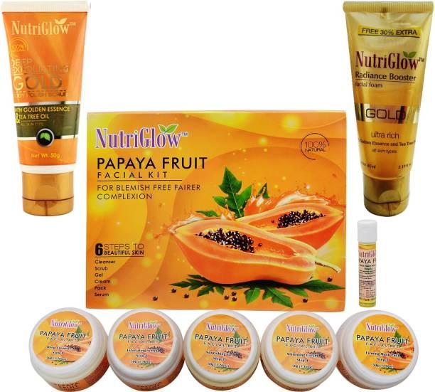 NutriGlow Set of 1 Papaya Facial Kit + 1 Gold Polish Scrub + 1 Gold Radiance Face Wash