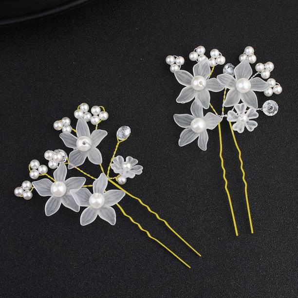 Kidzoo Bridal Wedding Hair Pins Silver Rhinestones Pearl Flower Bride Hairpin Hair Accessories Set for Women and Girls (Pack of 2) Hair Pin