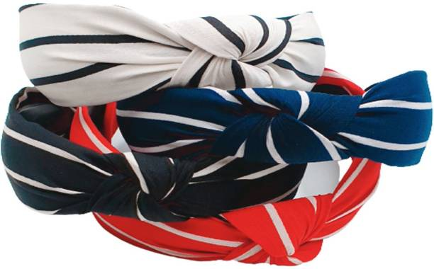 zapt Pack Of 4 Women Wide Stripes Cloth Cross Knot Hair Hoop Hairband Headband Hair Accessories_(White:Blue:Red:Black) Hair Band