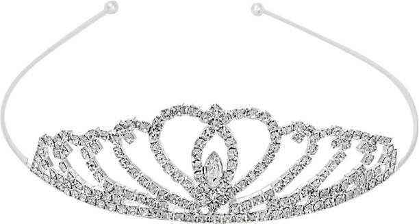 Aaishwarya Bridal Princess Crystal Tiara Head Band Silver Hair Band