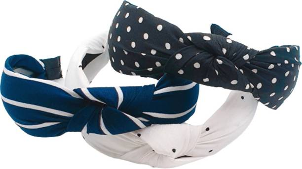 zapt Pack Of 3 Women Wide Stripes Cloth Cross Knot Hair Hoop Hairband Headband Hair Accessories_(White:Black:Blue) Hair Band