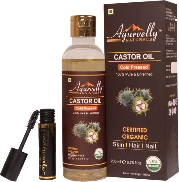 Ayurvelly Naturals 100% Pure & Organic Castor Oil Cold Pressed With Free Mascara Kit Hair Oil
