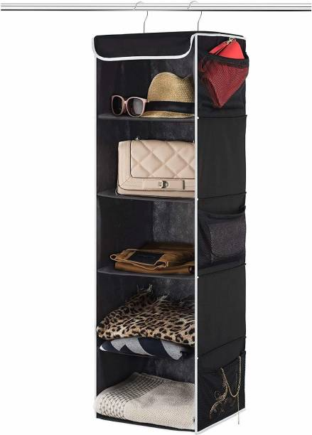 DOUBLE R BAGS 5-Shelf Hanging Closet Organizer - Breathable Hanging Shelves - for Clothes Storage and Accessories Closet Organizer, Shoe Organizer, Regular Organizer, Bedside Organizer