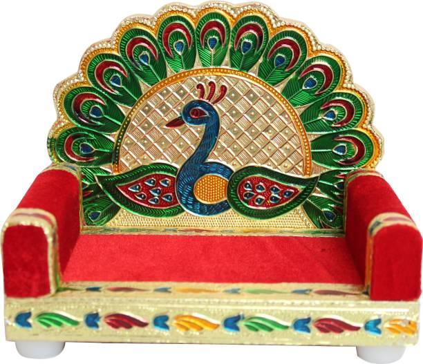 SHRISHA CREATION Singhasan for Krishna Wooden Laddu Gopal Velvet Singhasan for Pooja Mandir Krishna Singhasan Solid Wood Home Temple