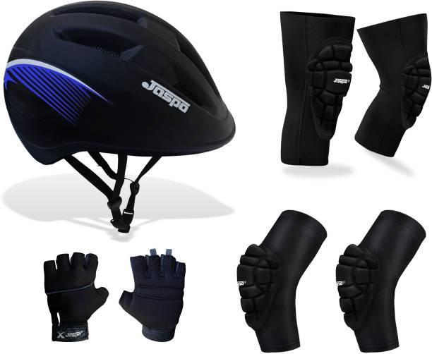 Jaspo Ark Multi-utility Protection Adjustable for all age group - Medium (Red) (Helmet + Knee+ Elbow+ Palm Protector) Skating Kit