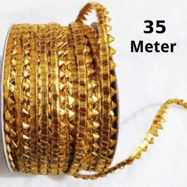 SKYELLA golden lace - 35mtr fancy designer golden lace for saree border, lace reel Lace Reel