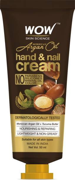 WOW SKIN SCIENCE Moroccan Argan Oil Hand & Nail Cream - Nourishing & Repairing - Lightweight & Non-Greasy - Quick Absorb - for All Skin Types - No Parabens, Silicones, Mineral Oil & Color - 50mL