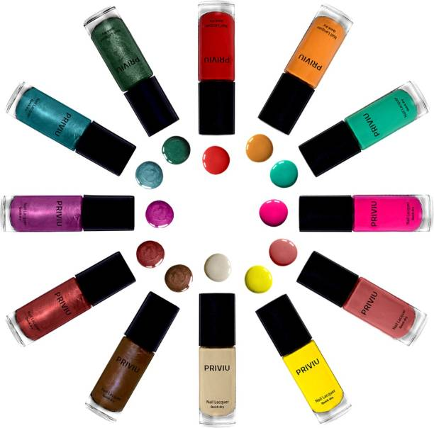 PRIVIU Nail Lacquer Quick Dry Cherry Red, Mustard, Sea Green, Pink, Peach, Lemon Yellow, Off White, Metallic Matte Brown, Matte Chrome Pink, Metallic Red , Electric Blue, Sparkle Green