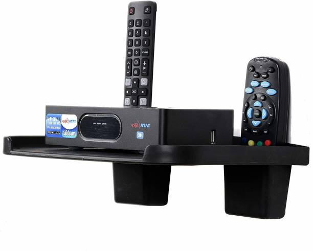 DALUCI Set Top Box Wall Mount Stand With 2 Remote Holder Plastic Wall Shelf