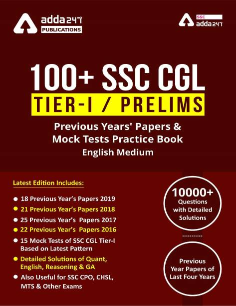 100 SSC CGL Books For Tier-I Previous Year Question Papers   English Medium Book