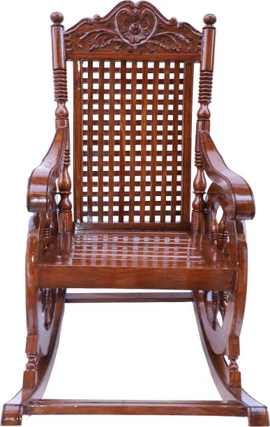 Decorhand Wood Rocking Chair For Living Room / Garden - Natural Rosewood Finishing for adults/Grand parents Solid Wood 1 Seater Rocking Chairs