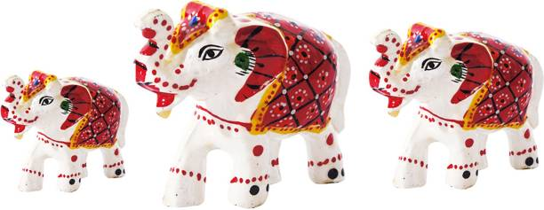 DreamKraft Paper Mache Elephant Showpiece Set of 3 Decorative Showpiece  -  6 cm