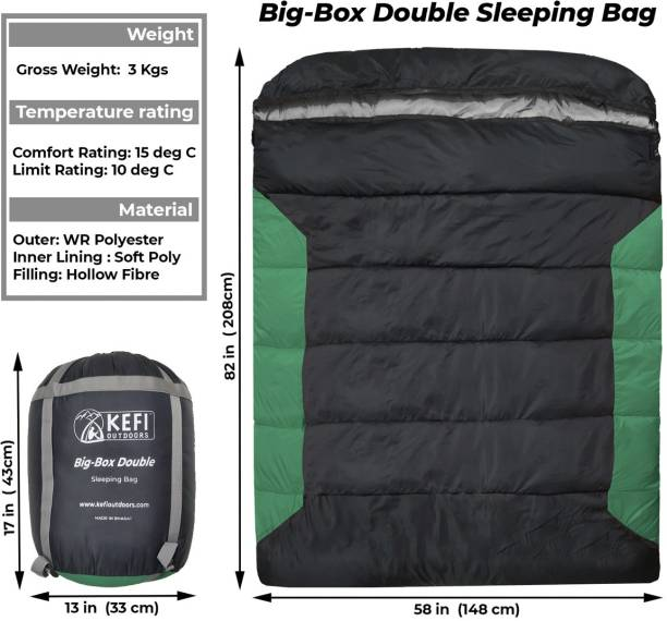 Kefi Outdoors Big Box Queen-Size Double Sleeping Bag; Warm and Comfy; Family Camping Sleeping Bag