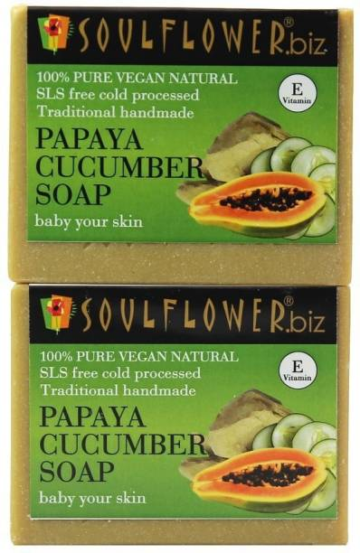Soulflower Papaya Cucumber Soap 150g, For Skin Brightening, Smooth Skin, Makeup Remover, Luxury, Premium Handmade Soap