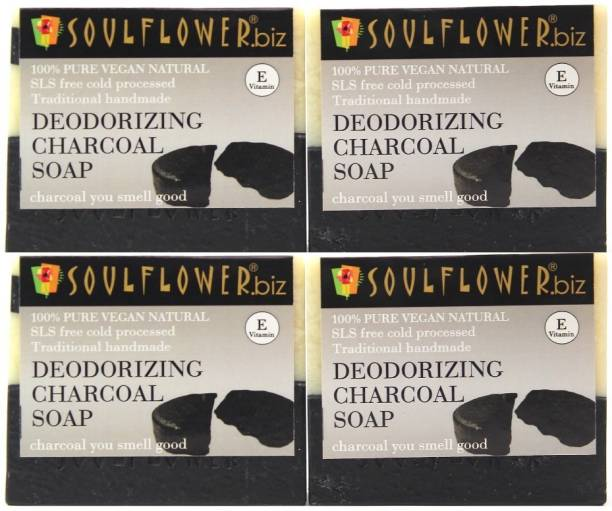 Soulflower Deodorizing Charcoal Soap 150g, 100% Premium & Pure, Natural & Undiluted, For Oily Skin, Pimple Care, Moisturizing Soap, Luxury, Premium Handmade Soap