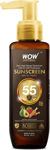 WOW SKIN SCIENCE Sunscreen Matte Finish - SPF 55 PA+++ - Very High Broad Spectrum - UVA &UVB Protection - Quick Absorb - No Parabens, Silicones, Mineral Oil, Oxide, Color & Benzophenone - 100mL - SPF 55 PA+++ PA+++